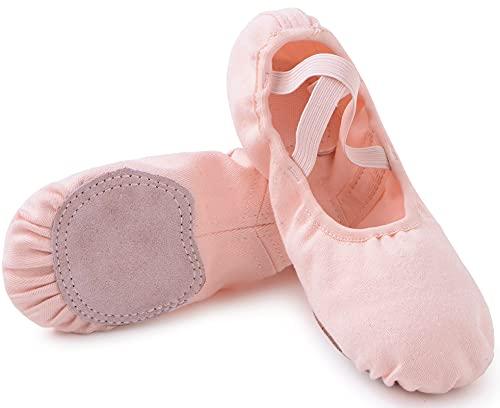 Zapatos de Ballet Niña Zapatillas de Ballet Mujer de Danza y Gimnasia Baile con Suela Partida Rosa 24