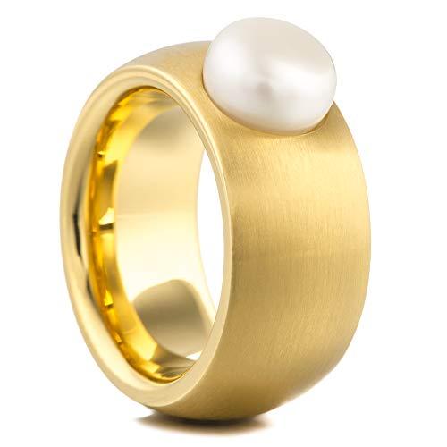 Heideman Ring Damen aus Edelstahl Gold farbend matt Damenring für Frauen mit echter Süßwasser Perle Weiss Cabochon 8mm