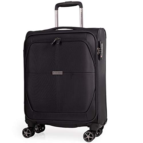 Soft Shell 21 Inch Suitcase with Wheels - Cabin Approved Jet2 EasyJet BA Luggage by Gino Ferrari | British Airways Fits 56x45x25 Hand Carry On | 21' 20 litres Light 2.1kg (Black, Small)