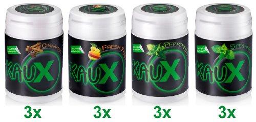 kauX 12er Pack Xylitol--Höchstdosiert und ohne Aspartam! Zahnpflegekaugummi mit 1,06 g Xylitol 12'er Pack/ 60g=40 Stück pro Dose,