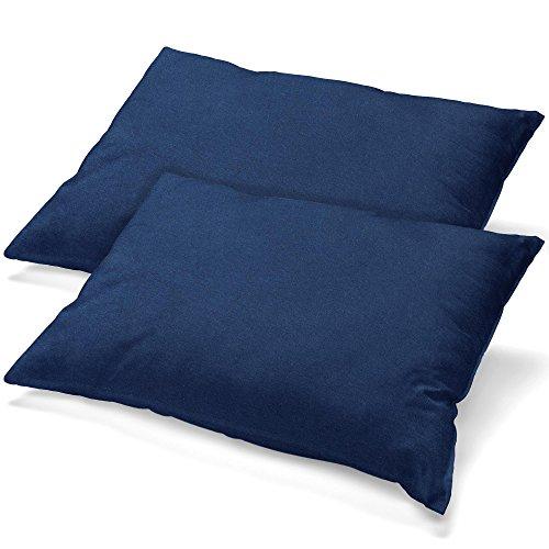 aqua-textil Classic Line Housse de Coussin Lot de 2 Fermeture Éclair Coton 40 x 80 cm Bleu foncé
