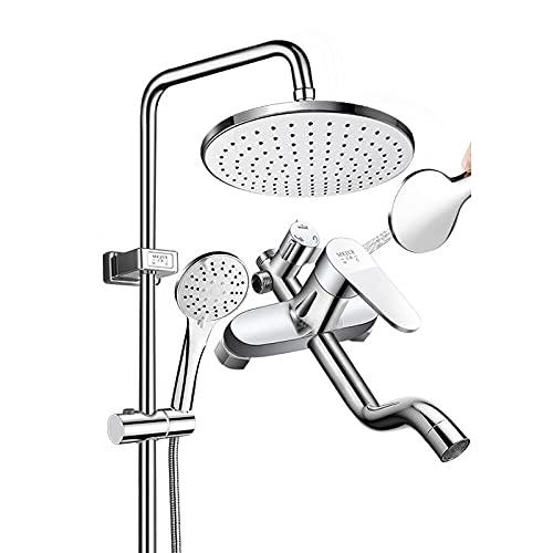 Sistema de ducha con 5 pulverización de la mano de la mano, el baño de la ducha de la ducha del baño de la pared, el cabezal de ducha fija ajustable, el interruptor de salida de agua giratoria de tres