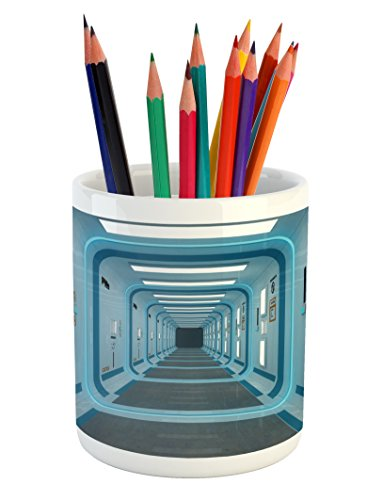 Ambesonne Outer Space Pencil Pen Holder, Galactic Hallway with Caution Signs Discovery Explore Invasion Print Artwork, Printed Ceramic Pencil Pen Holder for Desk Office Accessory, Blue White