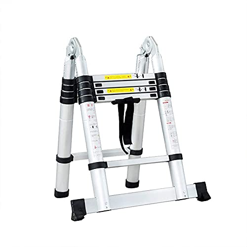 Escaleras Plegables Escalera telescópica telescópica de Aluminio, Multiusos telescópica, peldaño Inferior de...