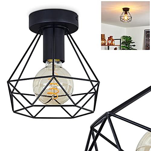 Plafonnier Denno en métal noir, élégante lampe vintage dont l'abat-jour grillagé crée un jeu de lumière au plafond, pour 1 ampoule E27 max. 60 Watt, compatible ampoules LED