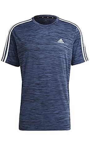 adidas Men's 3 Stripe Tech Tee Moisture Wicking Fabric Relaxed Fit (Legend Ink Metallic, Large)