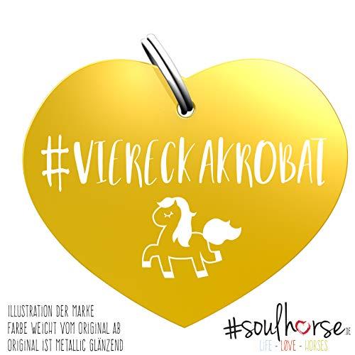 Soulhorse Viereckakrobat Gold Kleiner Glücksbringer Marke Anhänger für Pferdezubehör Halfter Trense Zaumzeug Sattel Vorderzeug