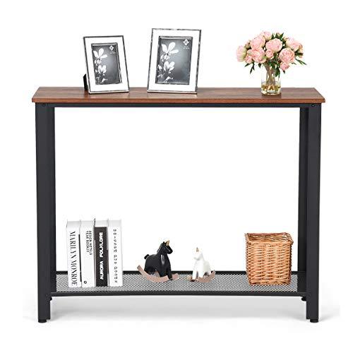 Goplus Tavolino da caffè, Tavolino Consolle per Soggiorno, Tavolino a 2 Ripiani con Struttura Mettalica, Tavolo Consolle Entrata, 101,5x80x35 cm (Nero)