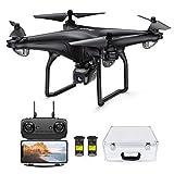 Potensic FPV Drone 1080P HD kamerával, RC Quadcopterrel, kettős GPS és Follow Me funkcióval, Élő átvitel 120 ° széles látószögű, feltartó, fej nélküli módban, 2 akkumulátorokkal és bőröndökkel D58