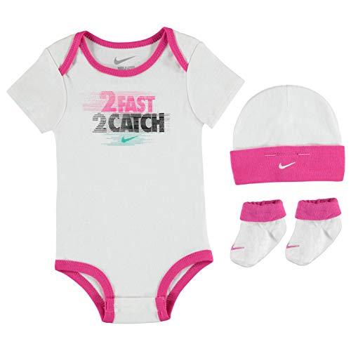 Nike Baby Mädchen Girls Set Bodysuit Cap Socken Schuhe 0-6 Monate Weiß Rosa