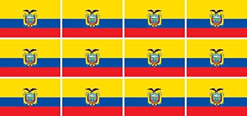 Mini Aufkleber Set - Pack glatt - 50x31mm - Sticker - Fahne - Ecuador - Flagge - Banner - Standarte fürs Auto, Büro, zu Hause & die Schule - 12 Stück