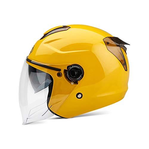 Boseman Erwachsener Motorradhelm mit Doppelvisier, Jet-Helm Chopper Cruiser Vintage Pilot Helmet, Bestehen Sie den Kollisionstest, um die Verkehrssicherheit zu Gewährleisten( Gelb )
