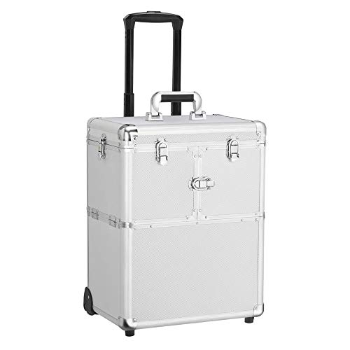 Yaheetech Professional Rolling Makeup Case - Cosmetic Train Case Loakable Beauty Trolley Large Train Case Cosmetic Organizer Wheels Handle Mirror Silver