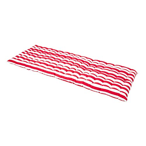 HOMESCAPES Red & White Stripe Garden Bench Cushion 3 Seater Seat Pad for Patio Furniture Kitchen or Dining Bench Indoor & Outdoor Use Comfortable 100% Cotton Thick Cushion 143 cm Wide