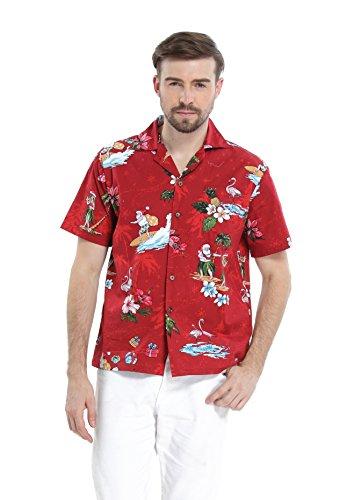 Hawaii Hangover Men's Hawaiian Shirt Aloha Shirt M Christmas Shirt Santa Red