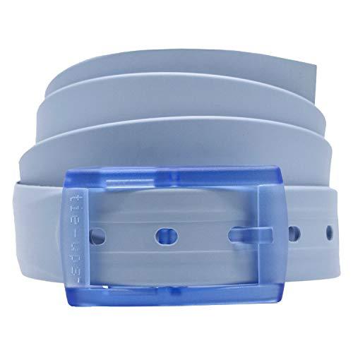 tie-ups Cintura in Gomma con Fibbia in Plastica   Nickel Free - Nessun Metallo   Cintura Uomo e Donna   Colore Blue Cloud