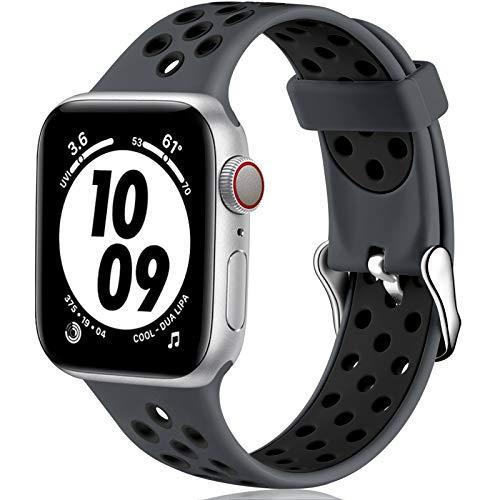 Oielai Correas Compatible con Apple Watch Correa 38mm 40mm 42mm 44mm, Deporte Silicona Suave Reemplazo Banda Correa para iWatch Serie 6, Serie 3 5 4 SE 2 1, 42MM/44MM M/L Gris Carbón/Negro