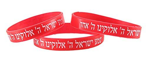 3 Bracelets ROUGE CHEMA ISRAËL – Kabbale juive hébraïque bandes caoutchouc