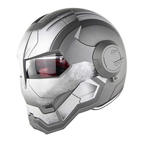 D.O.T Certificado Motocross Casco De Motocross Cara Completa Casco Moto Tapa Abierta Casco De Máscara, Iron Man Transformers - M, L, XL Gris,M57~58CM