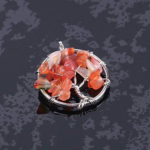 Collar De Piedra,Vintage Reiki 7 Chakra Gema Natural Piedra De Ágata Naranja Árbol De La Vida Collares Con Colgante Redondo Con Cadena De Plata Regalo De Fiesta De Cumpleaños Unisex Para Mujeres,