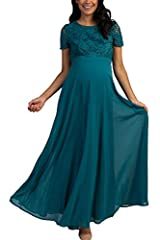 Welcome to the Wonderful World of Motherhood! PinkBlush Outlet brings to you a collection of cute and stylish, quality made maternity-wear that will suit every mothers' needs! A chiffon maternity evening gown featuring a crochet overlay top, short se...
