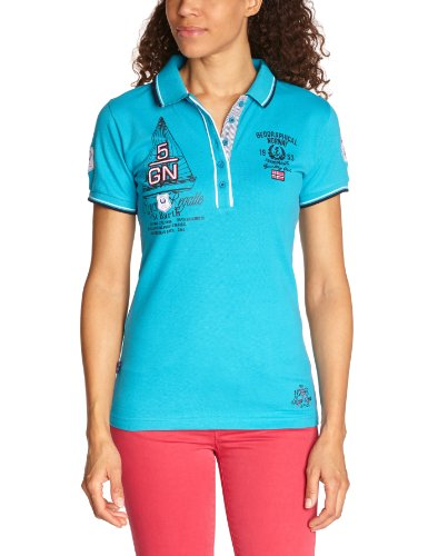 Geographical Norway Damen Polo Shirt, Blau (Turquoise), 34 (Herstellergröße: 1)