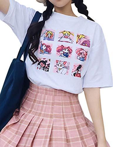 xixiaowh [doppelseitiges Sailor Moon Druck, kurzärmeliges T-Shirt, weiß, 2020 Rundhalsausschnitt, Unisex, kurzärmelig, Tanzen, Größe S