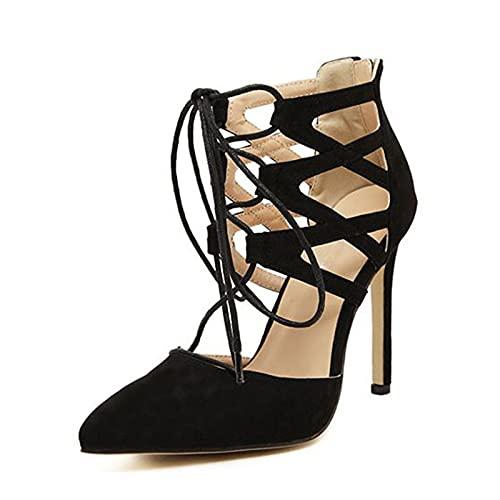 YXLYLL Sandalias de tacón alto con correa cruzada con cordones de ante sintético negro para mujer negro-36