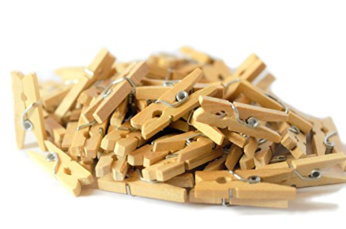 Craft4u 100-Pack of 1.0 Inch (25mm) Baby-Size Mini Wooden Clothespins. So Tiny So Funny