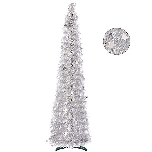 CCINEE 5FT Christmas Tinsel Tree Collapsible Stand Easy-Assembly Silver Tinsel Xmas Tree for Holiday Party Home Office Store Classroon Decoration