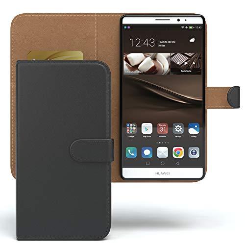 EAZY CASE Tasche kompatibel mit Huawei Mate 8 Schutzhülle mit Standfunktion Klapphülle im Bookstyle, Handytasche Handyhülle Flip Cover mit Magnetverschluss und Kartenfach, Kunstleder, Schwarz - 2