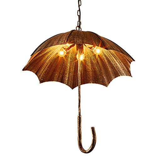 Creativo Arte Techo Hanging Lights Fixture Para Comedor Restaurante Bar Café Durante La Lámpara Paraguas,Rústico Luz Colgante,Industrial Metal Lámpara Colgante Bronce 58x60cm(23x24inch)