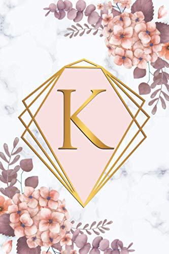 K: Monogram Letter K College Ruled Notebook - Initial Letter Medium Lined Blank Journal - Grey Marble Rose Gold Pink Floral