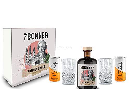 The Bonner Geschenkset - The Bonner Gin 0,5L (41% Vol) + 2x Longdrink Glas in Kristall Optik + 2x 1724 Tonic Water Dose 200ml inkl. Pfand EINWEG - [Enthält Sulfite]