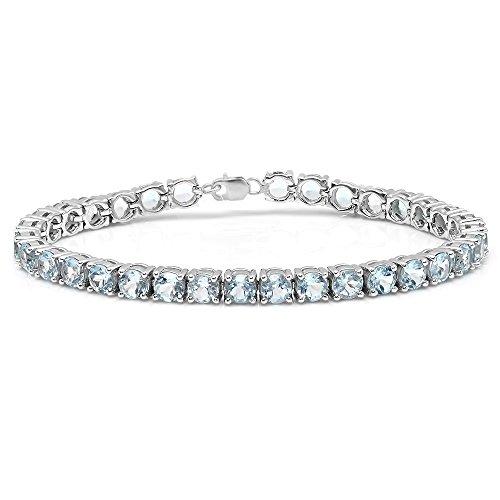 10.00 Carat (ctw) Sterling Silver Real Round Cut Aquamarine Ladies Tennis Bracelet