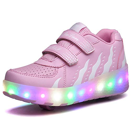 Unisex Kinder LED Rollschuh Schuhe Mit Einstellbare Doppelräder LED Lichter Blinken Skateboardschuhe Trainer Sneakers Rollen Schuhe Für Junge Mädchen,Pink-38