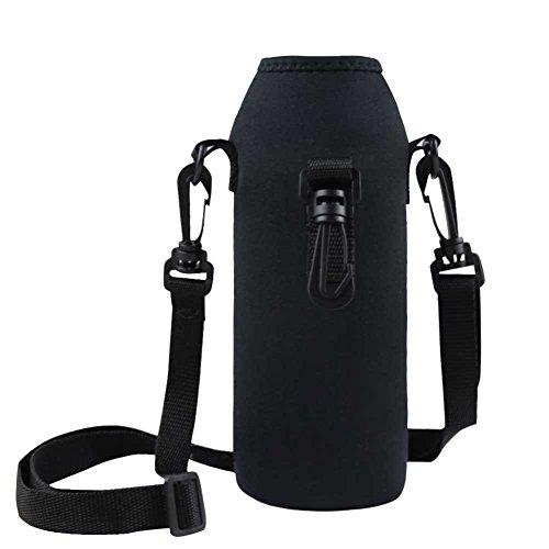 TiaoBug Thermo-Hülle Neopren Flaschen Hülle Schwarz 1 L für Trinkflasche Flasche Hülle Tasche Isolier-Tasche mit Träger in schwarz/blau (Schwarz)