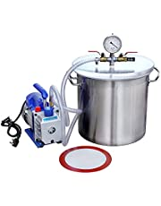 ECO-WORTHY 5 Gallons roestvrij staal vacuüm deegassing chamber kit met 3 CFM Single Stage Pomp Kit