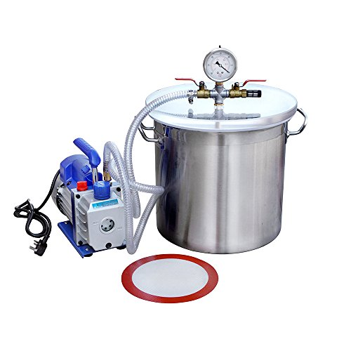 ECO-WORTHY 5 Gallons Stainless Steel Vacuum Degassing Chamber Kit with 3 CFM Single Stage Pump Kit