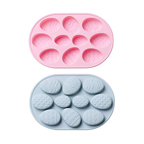 Easter Silicone Cake Mold DIY Easter Egg Chocolate Mold Candy Molds 2Pcs 10 Cavities Gingerbread Baking Tools 3D Fondant Sugar Mold for Easter Cake Decorations Holiday Accessories