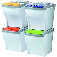 Bama Poker - Conjunto de 4 cubos modulares para la basura,  20 Litros