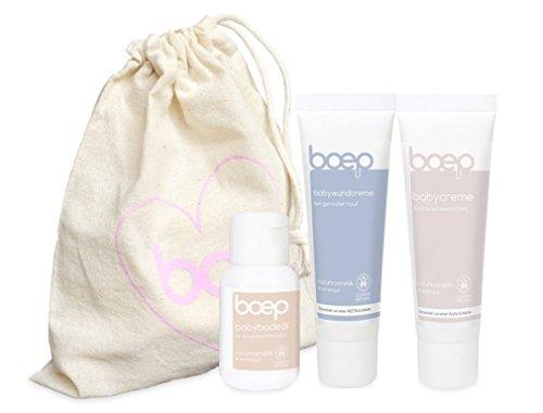 boep babys erste wochen - Erstausstattung für Neugeborene - Babypflege im Geschenkset (Babycreme 50 ml, Wundcreme 50 ml & Badeöl 30ml) im Bio-Baumwollbeutel