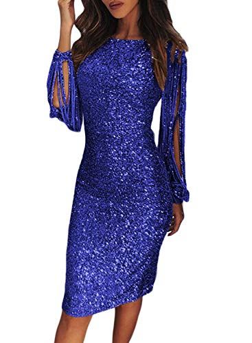 Fiyote - Vestito da donna aderente con paillettes, abito da cocktail, a maniche lunghe con frange,...
