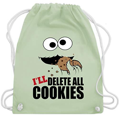 Shirtracer Nerds & Geeks - I will delete all cookies Keks-Monster - Unisize - Pastell Grün - Spruch - WM110 - Turnbeutel und Stoffbeutel aus Baumwolle