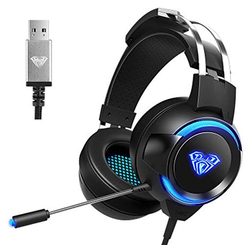 LXY 7.1 d Sound PC Gaming Headset, Adjustable Microphone, Noise Cancellation, Lightweight Body, Suitable for Notebook PS4 A (Color : A) (Color : Black)