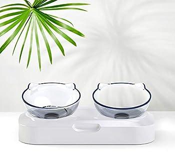 Yuet Gamelle de nourriture transparente pour animaux domestiques avec support surélevé pour chat et chien Design anti-déversement (Double)