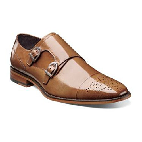 Stacy Adams Trevor Tan Brown Double Monk Strap Cap Toe Leather Dress Shoes
