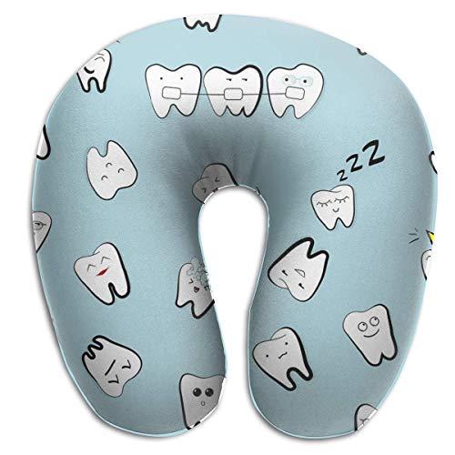 Almohada para el Cuello Dientes Dientes Dibujos Animados dentales Niños en Forma de U Almohada de Viaje Diseño ergonómico Contorneado Funda Lavable