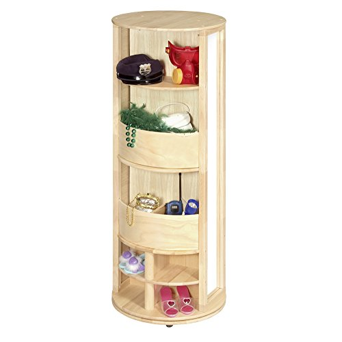 Guidecraft Dress Up Carousel – Pastel: Wooden Wardrobe for Kids, Pretend Play Round Storage Station with Hooks