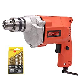 Cheston 10mm Powerful Drill Machine for Wall, Metal, Wood Drilling with 13 HSS bits for Drilling in Wood, Metal, Plastic (DRILL WITH 13HSS),Cheston